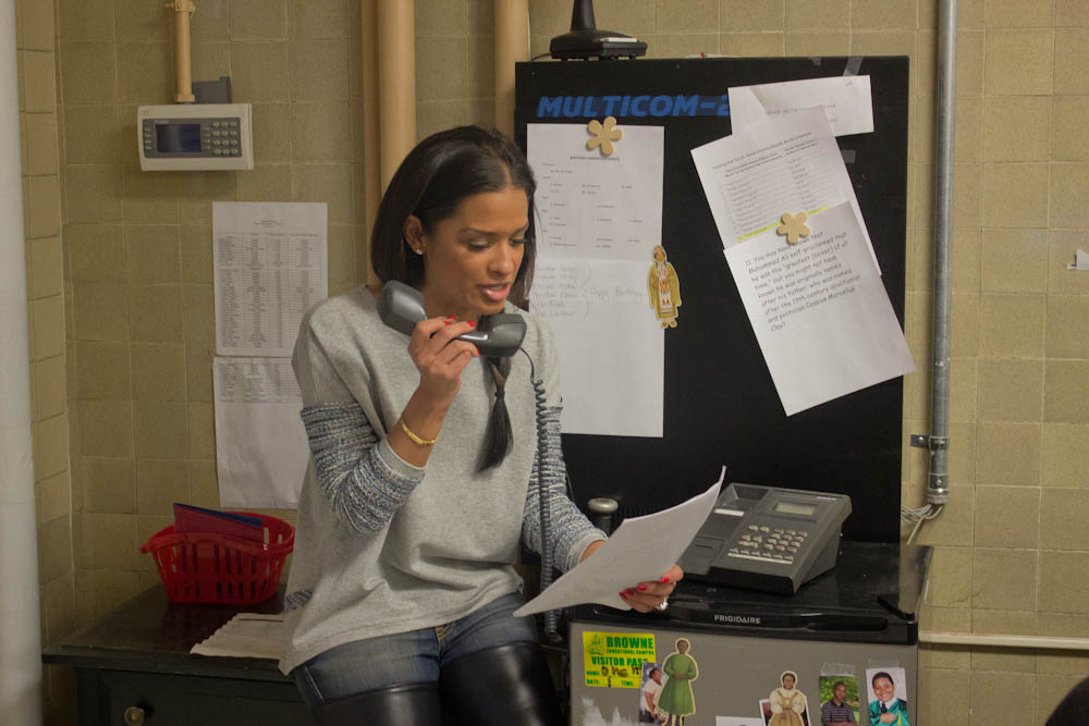 Rocsi Diaz welcomed the students at Browne EC during the morning announcements.