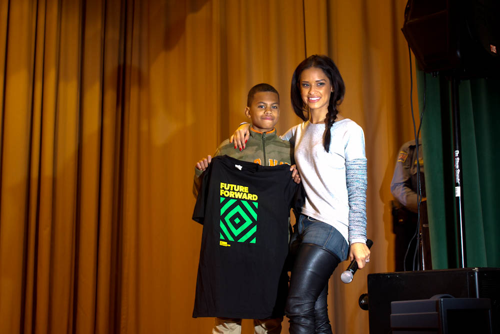 "Rocsi and 6th grader Daniel Bethea, winner of the ""Teach Me How to Dougie"" dance contest."